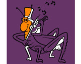 Desenho Grilo com violino pintado por luzinda