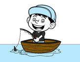 Desenho Menino a pescar pintado por bhun