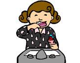 Desenho Menina a lavar os dentes pintado por anaclara_r