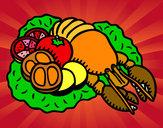 Desenho Lagosta com legumes pintado por Chocante