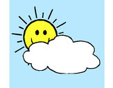 Desenho Sol e nuvem pintado por LaahSoares