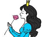 Desenho Princesa e rosa pintado por bhun