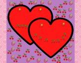 Desenho Corações pintado por parabes
