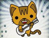 Desenho Gato guitarrista pintado por Missim