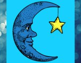 Desenho Lua e estrela pintado por Arbaiter
