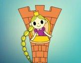 Desenho Rapunzel na torre pintado por luaspezia