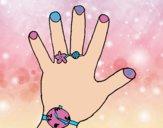 Desenho Mão com acessórios pintado por camilaS2