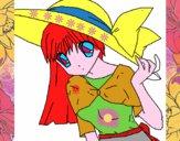 Menina com chapéu pamela