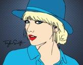 Desenho Taylor Swift com chapéu pintado por Missim
