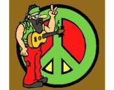 Desenho Musico hippy pintado por linsvan