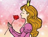 Desenho Princesa e rosa pintado por Maltez