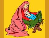Desenho Nascimento do menino Jesús pintado por shirloka