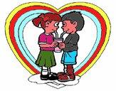 Apaixonados a partilhar um refresco