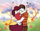 Desenho Casal apaixonado pintado por missmirim