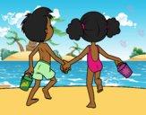 Desenho A menina eo menino na praia pintado por Missim