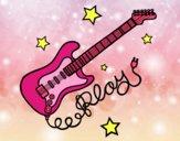Desenho Guitarra e estrelas pintado por Margarida-