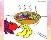 Fruta e caracois na caçarola