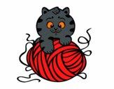 Desenho Gato com un novelo de lã pintado por mcardoso