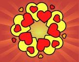 Desenho Mandala com corações pintado por ale3170