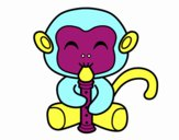 Desenho Macaco flautista pintado por luzinda