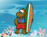 Desenho Macaco surfista pintado por lisalisa