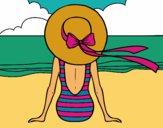 Desenho Mulher que olha o mar pintado por Talitat