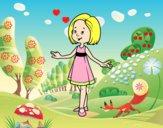 Menina com vestido de verão