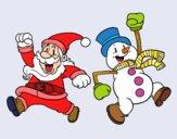 Papai Noel e boneco de neve de salto