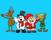 Desenho Papai Noel e seus amigos pintado por gustavocpm