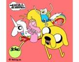 Jake, Finn, Princesa Bubblegum e Rainbow Lady
