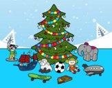 Desenho Árvore de Natal e brinquedos pintado por 2016