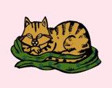 Desenho Gato na sua cama pintado por ImShampoo