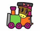 Desenho Trem com girafa pintado por Valdenia