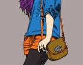 Desenho Menina com saco pintado por Karmem
