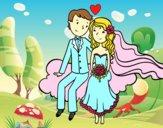 Newlyweds em uma nuvem