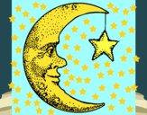 Desenho Lua e estrela pintado por carlaleoa