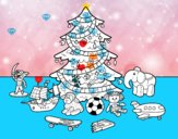Árvore de Natal e brinquedos