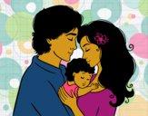 Desenho Família abraço pintado por florbelinh