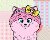 Desenho Uma gatinha com laço pintado por Isadoran