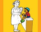 Enfermeira e menino