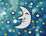 Desenho Lua com estrelas pintado por Sil