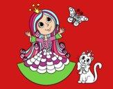 Princesa com o gato e borboleta