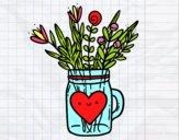 Desenho Pote com flores silvestres e um coração pintado por PriRafaela