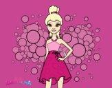 Desenho Barbie Princesa cor de rosa pintado por Jujuli
