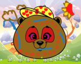 Cara de urso panda com gorro