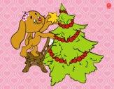Coelho que decora a árvore de Natal