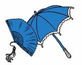 Leque e guarda-chuva