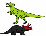 Tricerátopo e tiranossauro rex