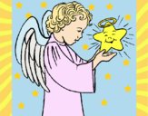Desenho Anjo e estrela pintado por Josie