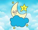 Desenho Lua e estrelas pintado por Josie